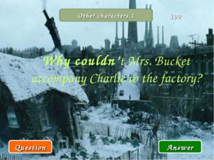 Other characters 1 Why couldn't Mrs. Bucket accompany Charlie to the factory?