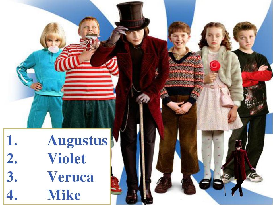 Augustus Violet Veruca Mike menu
