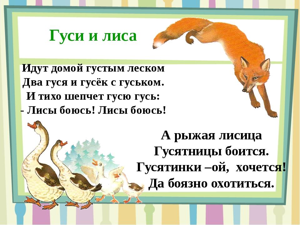 Гуси и лиса Идут домой густым леском Два гуся и гусёк с гуськом. И тихо шепче...