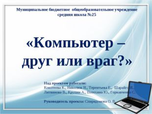 Муниципальное бюджетное общеобразовательное учреждение средняя школа №25 «Ком