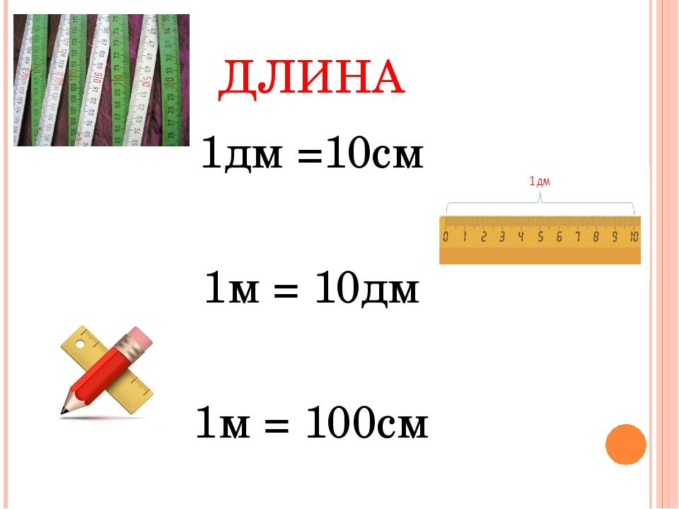 ДЛИНА 1дм =10см 1м = 10дм 1м = 100см