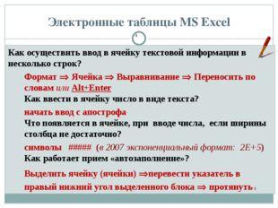 Электронные таблицы MS Excel Как осуществить ввод в ячейку текстовой информац