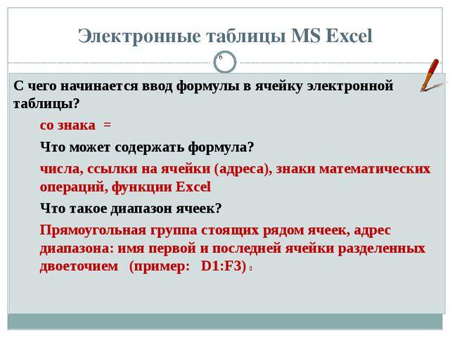 Электронные таблицы MS Excel С чего начинается ввод формулы в ячейку электрон...
