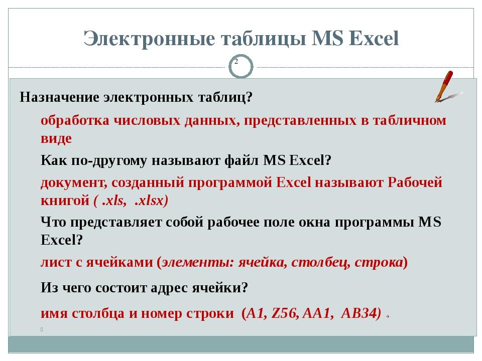 Электронные таблицы MS Excel Назначение электронных таблиц? обработка числовы...