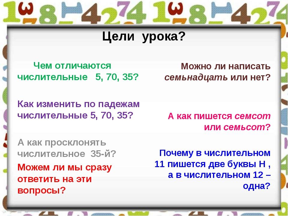Цели урока? Чем отличаются числительные 5, 70, 35? Как изменить по падежам чи...