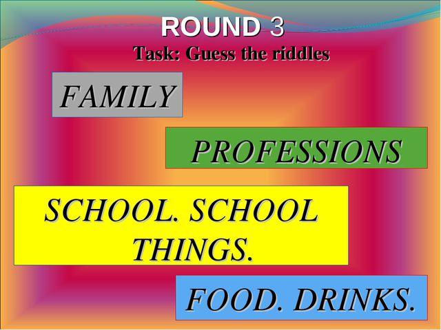 ROUND 3 FAMILY Task: Guess the riddles PROFESSIONS SCHOOL. SCHOOL THINGS. FOO...