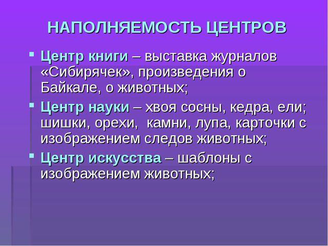НАПОЛНЯЕМОСТЬ ЦЕНТРОВ Центр книги – выставка журналов «Сибирячек», произведен...