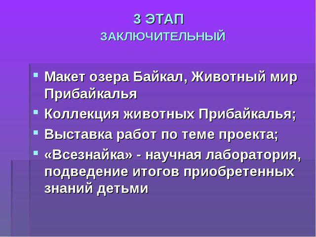 3 ЭТАП ЗАКЛЮЧИТЕЛЬНЫЙ Макет озера Байкал, Животный мир Прибайкалья Коллекция...