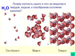 Почему плотность одного и того же вещества в твердом, жидком, и газообразном