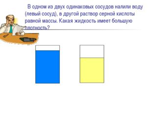В одном из двух одинаковых сосудов налили воду (левый сосуд), в другой раств