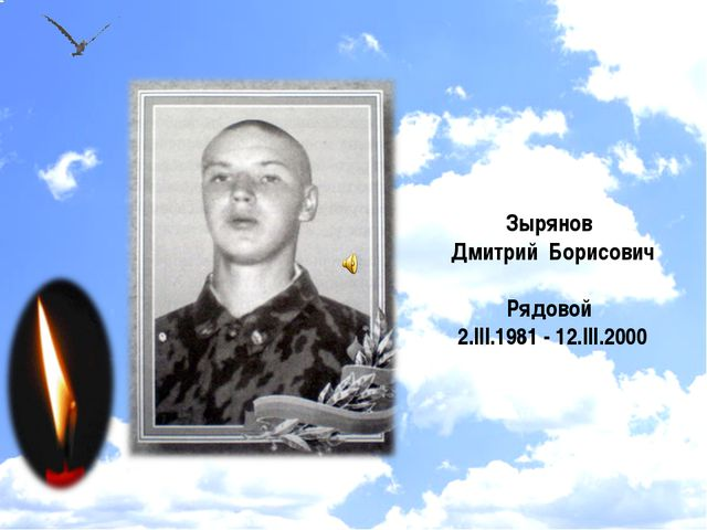 Зырянов Дмитрий Борисович Рядовой 2.III.1981 - 12.III.2000