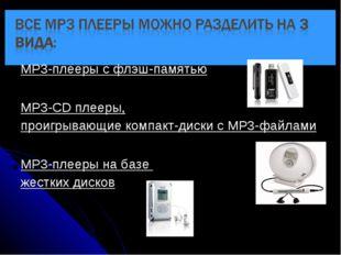 MP3-плееры с флэш-памятью MP3-CD плееры, проигрывающие компакт-диски с MP3-фа