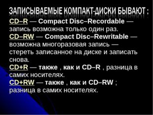 CD–R — Compact Disc–Recordable — запись возможна только один раз. CD–RW — Com