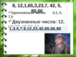 8, 12,1,65,3,23,7, 42, 5, 80,66 Однозначные числа: 8,1, 3, 7,5 Двузначные чис