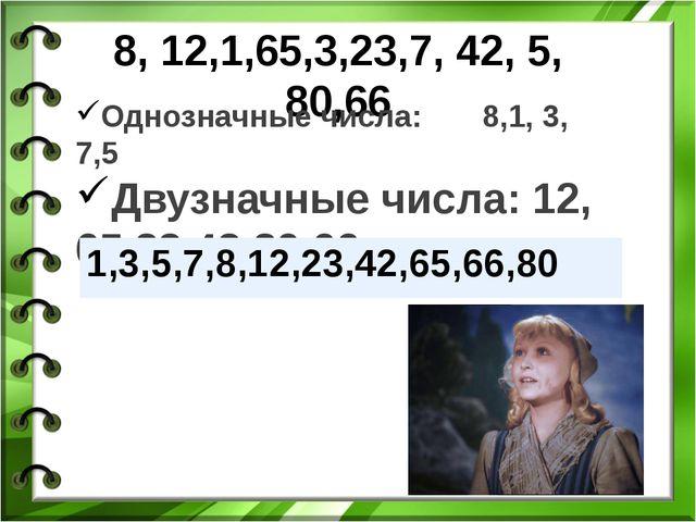 8, 12,1,65,3,23,7, 42, 5, 80,66 Однозначные числа: 8,1, 3, 7,5 Двузначные чис...