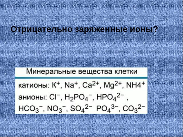 Отрицательно заряженные ионы?
