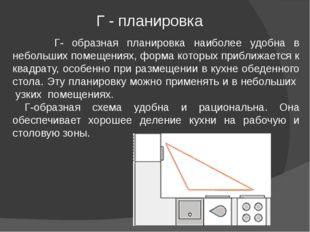 Г- образная планировка наиболее удобна в небольших помещениях, форма которых