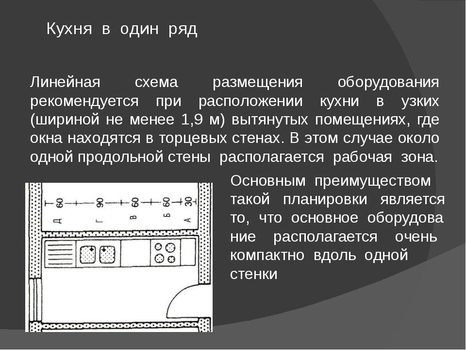 Линейная схема размещения оборудования рекомендуется при расположении кухни в...
