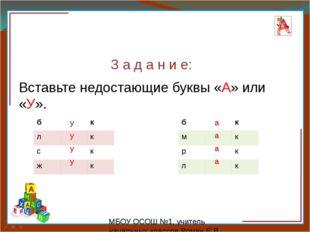 З а д а н и е: Вставьте недостающие буквы «А» или «У». у у у у а а а а МБО