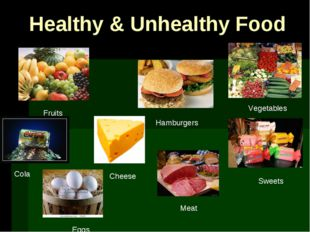 Healthy & Unhealthy Food Vegetables Fruits Hamburgers Sweets Cola Cheese Meat