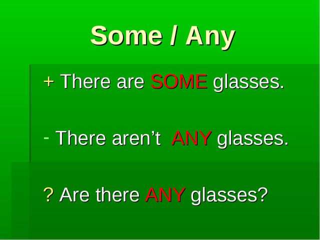 Some / Any + There are SOME glasses. There aren't ANY glasses. ? Are there AN...