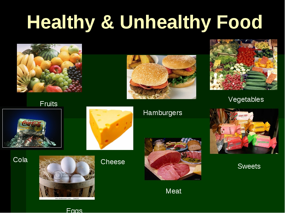 Healthy & Unhealthy Food Vegetables Fruits Hamburgers Sweets Cola Cheese Meat...