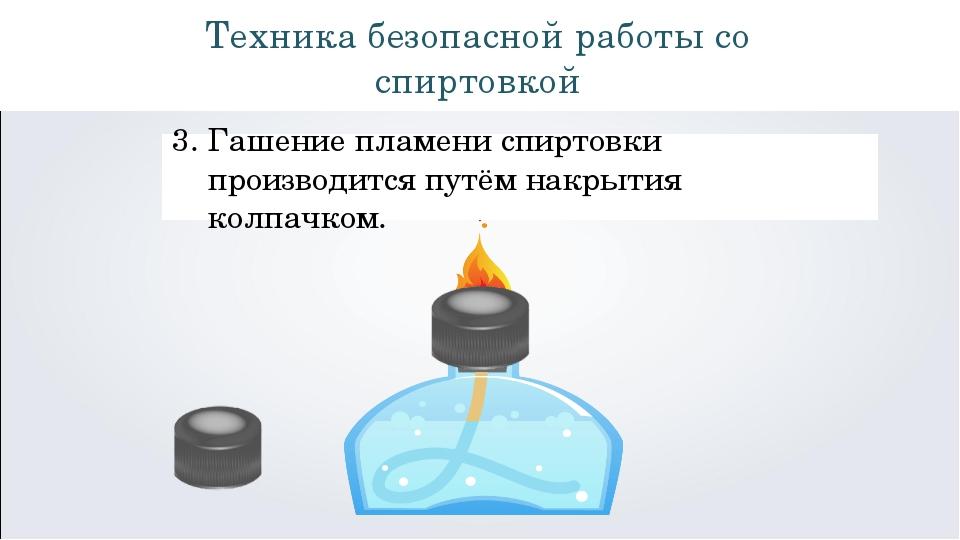 Техника безопасной работы со спиртовкой Гашение пламени спиртовки производитс...