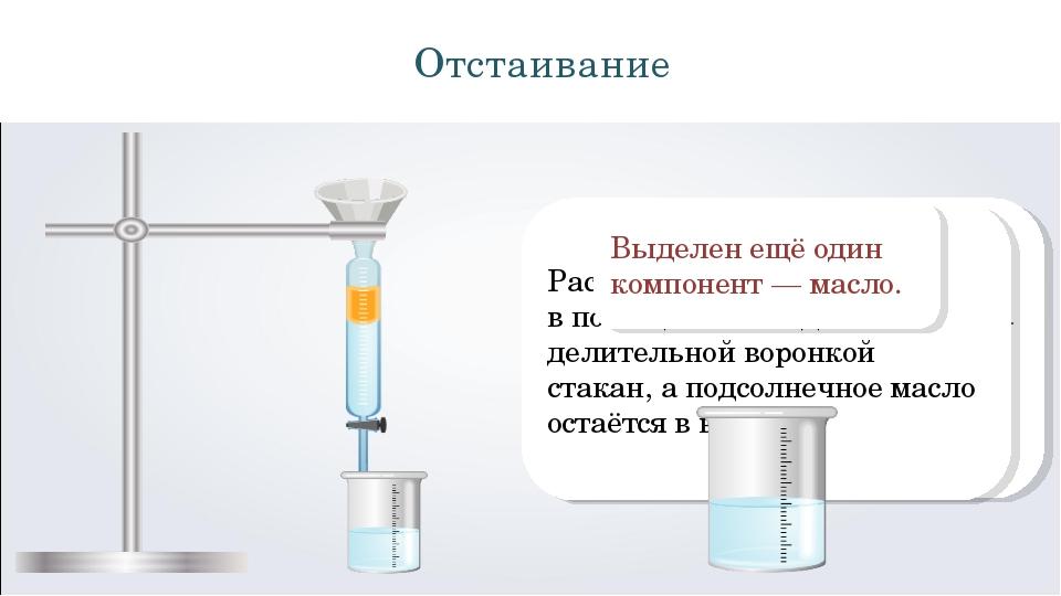Отстаивание Проведем разделение подсолнечного масла и раствора соли путём отс...