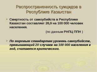 Распространенность суицидов в Республике Казахстан Смертность от самоубийств