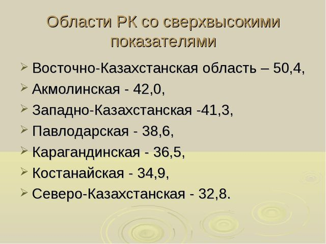 Области РК со сверхвысокими показателями Восточно-Казахстанская область – 50,...