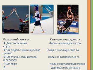 Паралимпийские игры: Категории инвалидности: Для спортсменов Люди с инвалидно