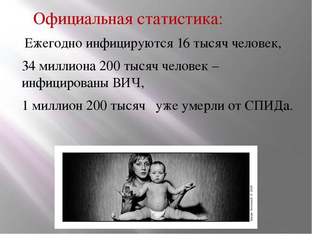 Официальная статистика: Ежегодно инфицируются 16 тысяч человек, 34 миллиона...
