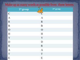 1st group2nd group CC AA RR BB OO HH YY DD RR AA TT EE