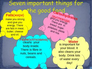 make you strong and give you energy. There are fats in meat, butter, cheese