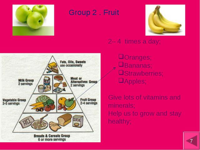 Group 2 . Fruit 2– 4 times a day; Oranges; Bananas; Strawberries; Apples; Giv...
