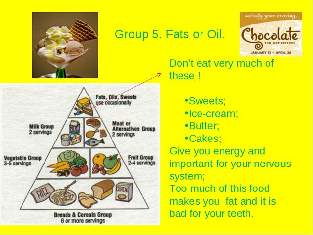 Group 5. Fats or Oil. Don't eat very much of these ! Sweets; Ice-cream; Butte...