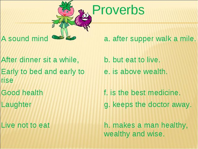 Proverbs A sound minda. after supper walk a mile. After dinner sit a while,...