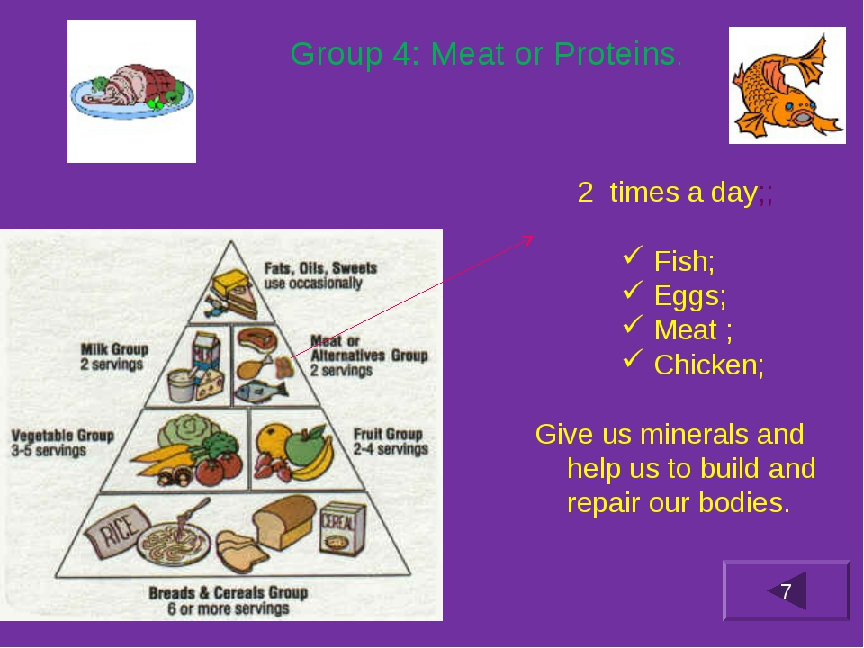 Group 4: Meat or Proteins. times a day;; Fish; Eggs; Meat ; Chicken; Give us...