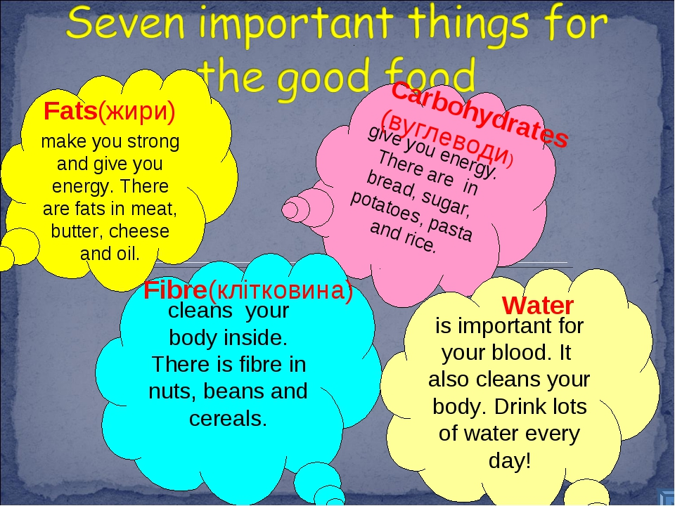 make you strong and give you energy. There are fats in meat, butter, cheese...