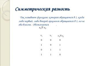 Симметрическая разность Так называют функцию, которая обращается в 1, когда л