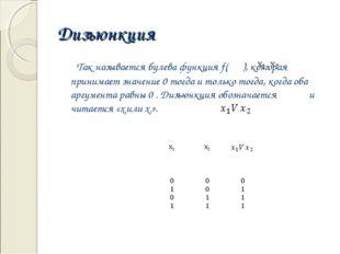 Дизъюнкция Так называется булева функция f( ), которая принимает значение 0 т