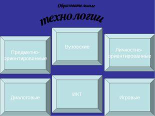 Диалоговые ИКТ Игровые Предметно- ориентированные Вузовские Личностно- ориент