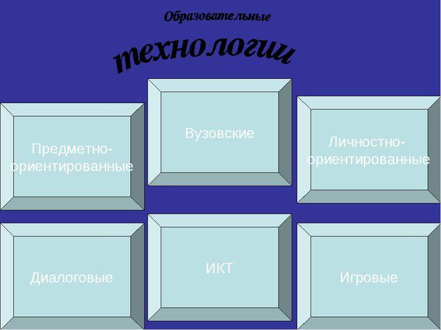 Диалоговые ИКТ Игровые Предметно- ориентированные Вузовские Личностно- ориент...