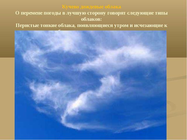 Кучево дождевые облака О перемене погоды в лучшую сторону говорят следующие т...