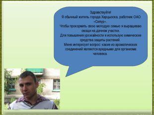 Здравствуйте! Я обычный житель города Харцызска, работник ОАО «Силур». Чтобы