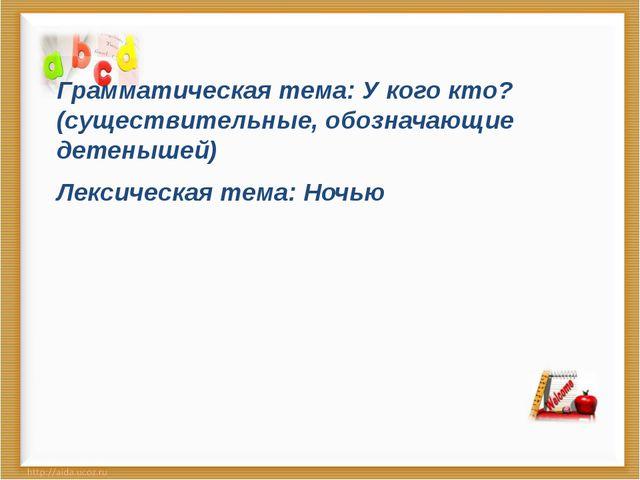 Грамматическая тема: У кого кто?(существительные, обозначающие детенышей) Ле...