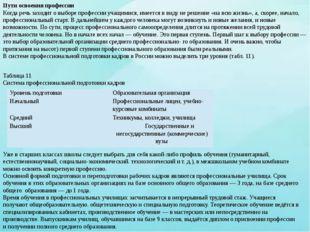 Таблица 11 Система профессиональной подготовки кадров Уже в старших классах ш