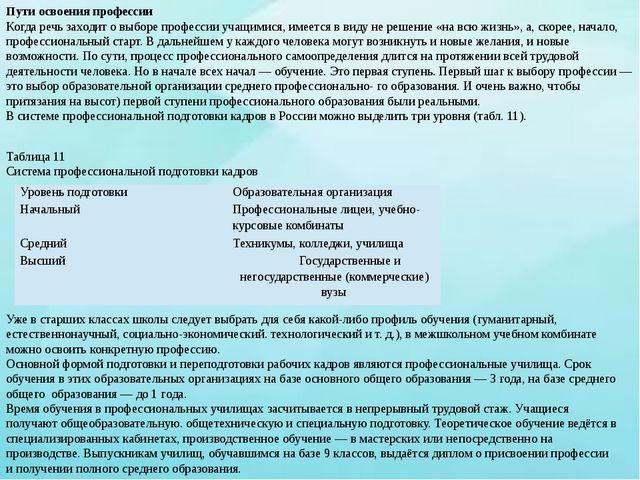 Таблица 11 Система профессиональной подготовки кадров Уже в старших классах ш...