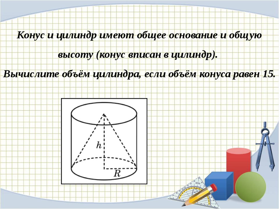 Конус и цилиндр имеют общее основание и общую высоту (конус вписан в цилиндр)...