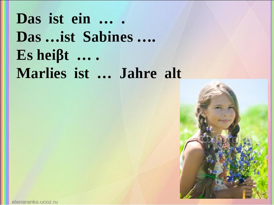 Das ist ein … . Das …ist Sabines …. Es heiβt … . Marlies ist … Jahre alt